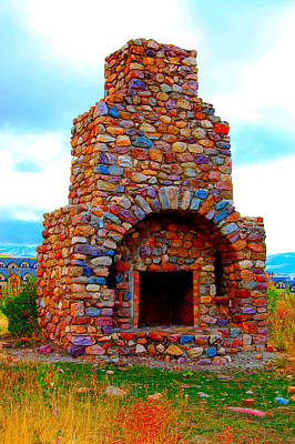 Photograph - Colorful Rock Fireplace by Holly Blunkall