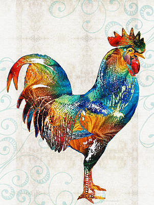 Colorful Rooster Art By Sharon Cummings Art Print