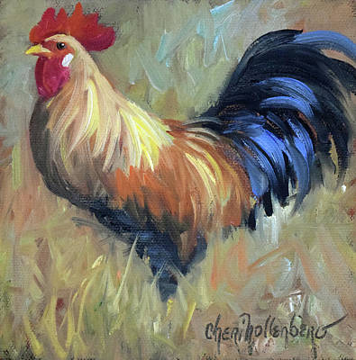 Rooster Painting - Colorful Rooster by Cheri Wollenberg