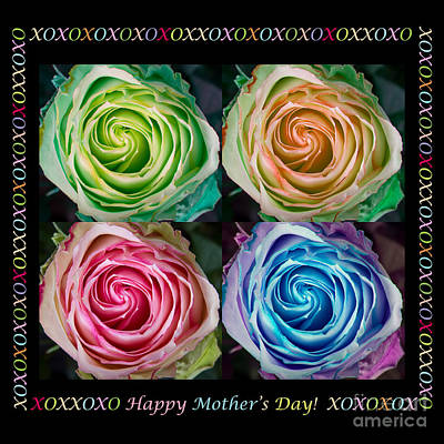 Photograph - Colorful Rose Spirals Happy Mothers Day Hugs And Kissed by James BO  Insogna