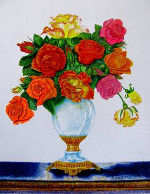Garden Drawing - Colorful Roses by Zina Stromberg