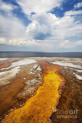 Photograph - Colorful Runoff From Black Pool Leads To Yellowstone Lake by Bryan Mullennix
