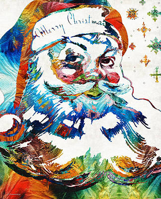 Colorful Santa Art By Sharon Cummings Art Print