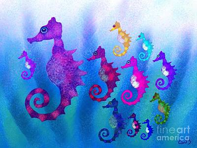 Rainbow Horses Drawing - Colorful Sea Horses by Nick Gustafson