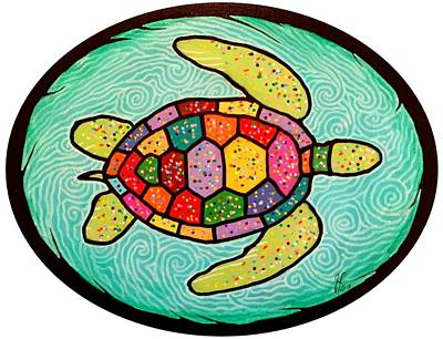 Colorful Sea Turtle Art Print by Jim Harris