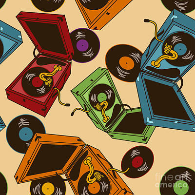 Equipment Wall Art - Digital Art - Colorful Seamless Pattern Of Gramophones by Annykos
