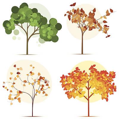 Colorful Seasonal Trees Art Print by Calvindexter