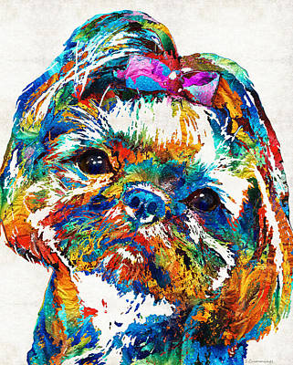 Dog Portrait Painting - Colorful Shih Tzu Dog Art By Sharon Cummings by Sharon Cummings