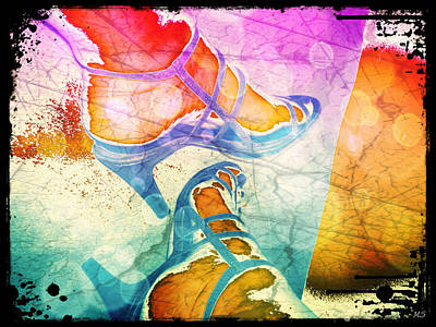 Stillettos Digital Art - Colorful Shoes by Absinthe Art By Michelle LeAnn Scott