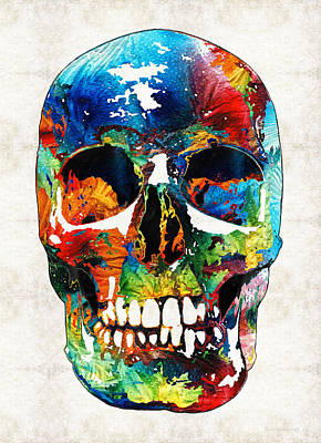 Skeleton Painting - Colorful Skull Art - Aye Candy - By Sharon Cummings by Sharon Cummings
