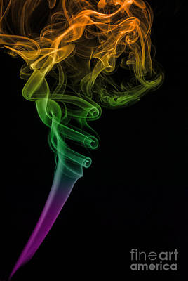 Digitally Manipulated Photograph - Colorful Smoke Abstract On Black by Vishwanath Bhat
