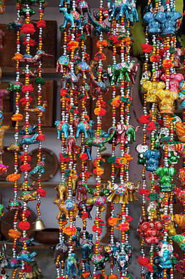 Colorful Beads Photograph - Colorful Souvenirs, Pushkar, Rajasthan by Inger Hogstrom