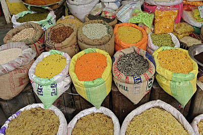 Colorful Spices At Vegetable Market / Print by Adam Jones