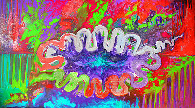 Colorful Abstract Painting - Colorful Spiritually by Julia Fine Art And Photography