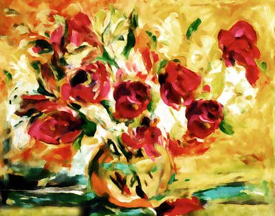 Flower Still Life Mixed Media - Colorful Spring Bouquet - Abstract  by Georgiana Romanovna