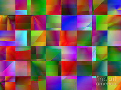 Digital Art - Colorful Squares Abstract 1 by Kristi Kruse