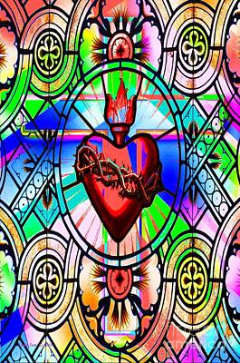 Digital Art - Colorful Stained Glass Cross And Sacred Heart by Annie Zeno