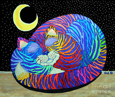 Fantasy Drawings - Colorful Striped Cat in the Moonlight by Nick Gustafson