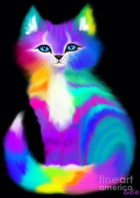 Colorful Striped Rainbow Cat Art Print