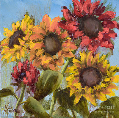 Mo Artist Painting - Colorful Sunflowers by Vic  Mastis