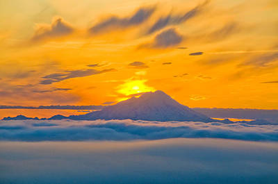 Colorful Sunset Behind Mt. Redoubt And Art Print