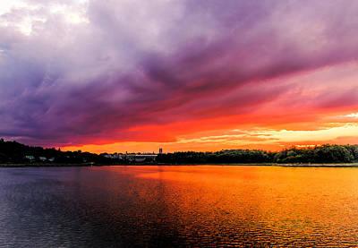 Photograph - Colorful Sunset In Boston Ma by Ludmila Nayvelt