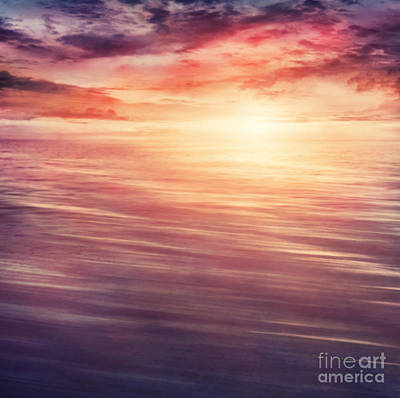 Abstract Beach Landscape Digital Art - Colorful Sunset by Mythja  Photography