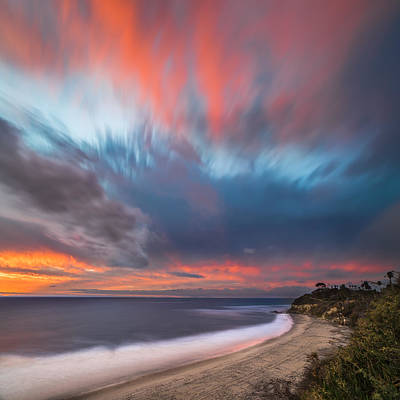 Long Exposure Photograph - Colorful Swamis Sunset - Square by Larry Marshall