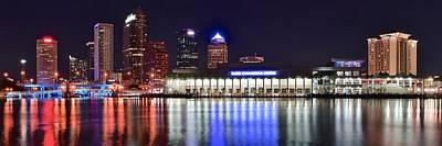 Black Commerce Photograph - Colorful Tampa Bay Nightlife by Frozen in Time Fine Art Photography