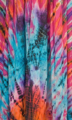 Representative Abstract Photograph - Vertical Colorful Tie Dye Fabric by Donna Haggerty