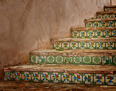 Riverwalk Photograph - Colorful Tile Steps In San Antonio by David and Carol Kelly