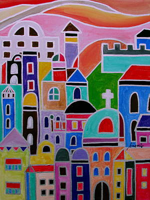 Painting - Colorful Town Of Guanajuato Mexico by Pristine Cartera Turkus