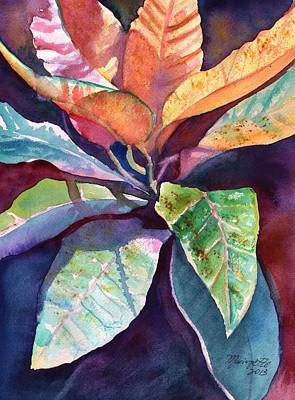 Painting - Colorful Tropical Leaves 3 by Marionette Taboniar