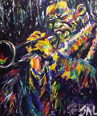 Jazzy Painting - Colorful Trumpeter by Jennifer Lombardo