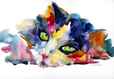 Watercolor Pet Portraits Painting - Colorful Tubby Cat Painting by Svetlana Novikova
