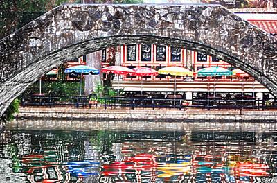 Digital Art - Colorful Umbrellas Reflected In Riverwalk Under Foot Bridge San Antonio Texas Colored Pencil Digital by Shawn O'Brien