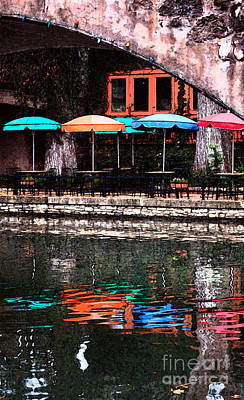 Digital Art - Colorful Umbrellas Reflected In Riverwalk Under Footbridge San Antonio Fresco Digital Art Vertical by Shawn O'Brien