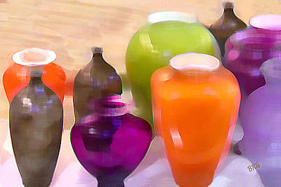Digital Art - Colorful Vases I - Still Life by Ben and Raisa Gertsberg