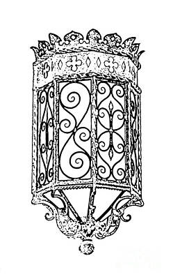 Digital Art - Colorful Vibrant Red Green Gothic Sconce Light Black And White Stamp Digital Art by Shawn O'Brien