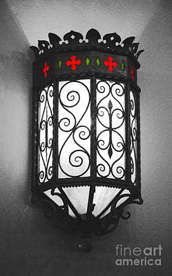 Digital Art - Colorful Vibrant Red Green Gothic Sconce Light Film Grain Color Splash Digital Art by Shawn O'Brien