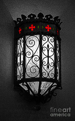 Digital Art - Colorful Vibrant Red Green Gothic Sconce Light Poster Edges Color Splash Digital Art by Shawn O'Brien