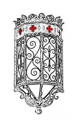 Digital Art - Colorful Vibrant Red Green Gothic Sconce Light Stamp Color Splash Digital Art by Shawn O'Brien
