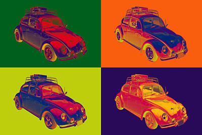 Punch Digital Art - Colorful Volkswagen Beetle Punch Buggy Modern Pop Art by Keith Webber Jr