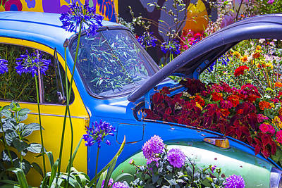 Vintage Auto Photograph - Colorful Vw Bug by Garry Gay