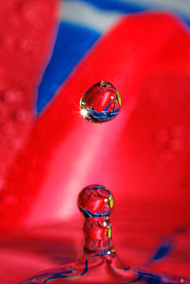 Art Print featuring the photograph Colorful Water Drop by Peter Lakomy