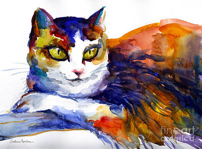 Watercolor Pet Portraits Painting - Colorful Watercolor Cat On A Tree Painting by Svetlana Novikova