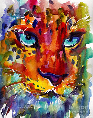 Svetlana Novikova Art Painting - Colorful Watercolor Leopard Painting by Svetlana Novikova