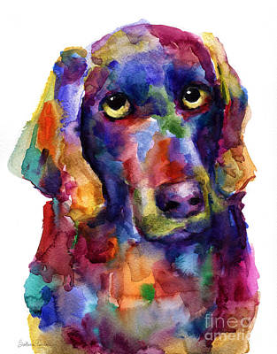 Svetlana Novikova Art Painting - Colorful Weimaraner Dog Art Painted Portrait Painting by Svetlana Novikova
