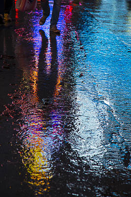 Colorful Wet Pavement Art Print by Garry Gay