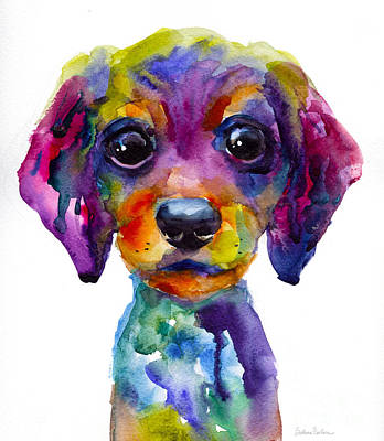 Watercolor Pet Portraits Painting - Colorful Whimsical Daschund Dog Puppy Art by Svetlana Novikova
